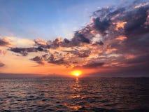 Sundown over the sea stock photography