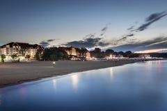 Sundown over Sopot beach in Poland. Sundown over Sopot beach at the Baltic sea in Poland Royalty Free Stock Photography