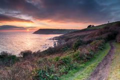 Sundown Over Talland Bay Royalty Free Stock Photo