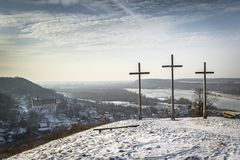 Sundown over Three Crosses Hill in Kazimierz Dolny Royalty Free Stock Images