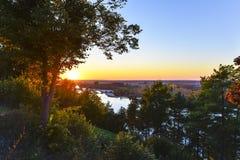Sundown over Vistula river in Poland Royalty Free Stock Photo