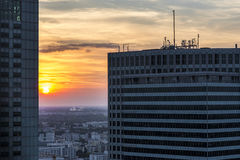 Sundown over Warsaw city. Royalty Free Stock Photos