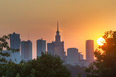 Sundown over Warsaw city. Royalty Free Stock Images