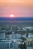 Sundown over Warsaw city Stock Photos