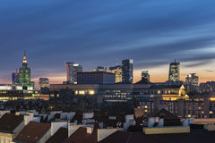Sundown over Warsaw city downtown Royalty Free Stock Photo