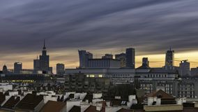 Sundown over Warsaw city downtown stock video
