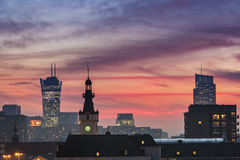 Sundown over Warsaw city Royalty Free Stock Photo