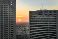Sundown over Warsaw city with modern buildings Royalty Free Stock Images