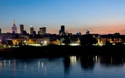 Sundown over Warsaw city, Poland, Stock Image