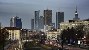 Sundown over Warsaw city stock video footage
