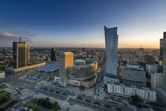 Sundown over Warszawa city Stock Photo