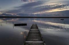 Sundown på bryggan Fotografering för Bildbyråer