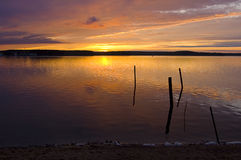Sundown på laken Royaltyfri Bild
