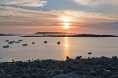 Sundown at Pink Granite Coast Royalty Free Stock Photos
