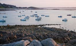 Sundown at Pink Granite Coast Royalty Free Stock Image
