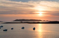 Sundown at Pink Granite Coast Stock Photos