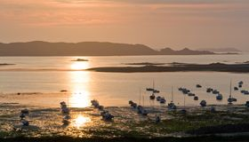 Sundown at Pink Granite Coast Royalty Free Stock Photo