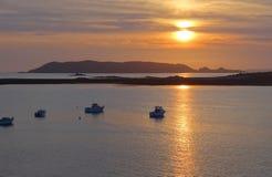 Sundown at Pink Granite Coast Royalty Free Stock Photos