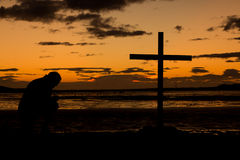Sundown Prayer Cross Royalty Free Stock Photo