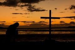 Sundown Prayer Cross royalty free stock photo