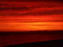 Fire sunset inverloch beach australia Stock Images