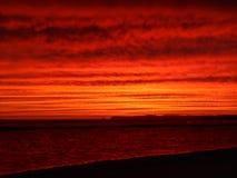 Fire sunset inverloch beach australia Stock Images