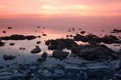 Sundown at Rock coast, Lake Baikal, Russia Royalty Free Stock Photography