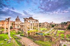 Sundown at roman forum in rome Stock Photos