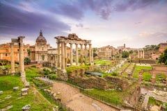 Sundown at roman forum in rome Royalty Free Stock Photo