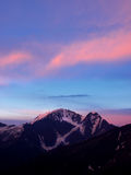 Sundown in rose and blue tone. On high mountain Stock Image