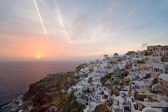 Sundown of Santorini island Royalty Free Stock Photos