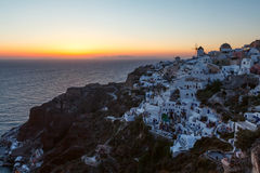Sundown of Santorini island Royalty Free Stock Photography