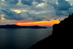 Sundown in Santorini Stock Photos
