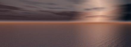 Sundown on sea. The Panorama of the sundown on sea. The Illustration Stock Photo