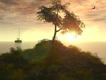 Sundown on sea. The sundown on sea. The Illustration. 3D Stock Photography