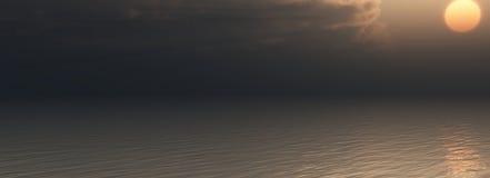 Sundown on sea. The Panorama of the sundown on sea. The Illustration Royalty Free Stock Images
