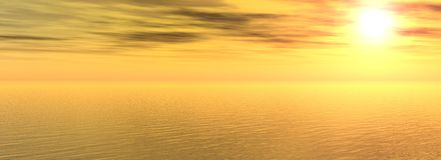 Sundown on sea. The Panorama of the sundown on sea. The Illustration Stock Photography