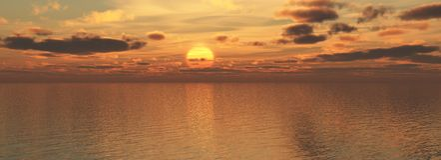 Sundown on sea. The Panorama of the sundown on sea. The Illustration Stock Photos