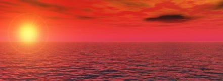 Sundown on sea. The Panorama of the sundown on sea. The Illustration Royalty Free Stock Image