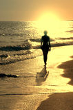 Sundown on sea and girl Royalty Free Stock Photography