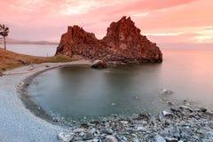 Sundown at Shaman Rock, Lake Baikal, Russia Stock Photos