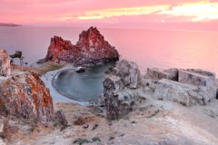 Sundown at Shaman Rock, Lake Baikal, Russia Stock Photo