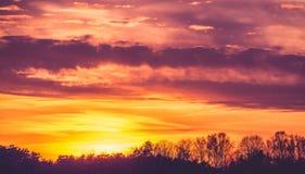 Sundown sky. Of burning vibrant color Stock Photo