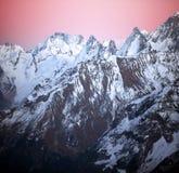 Sundown in snowy mountains Elbrus Royalty Free Stock Photo