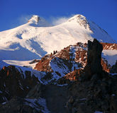 Sundown in snowy mt Elbrus, Northern Caucasus Stock Photos
