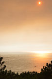 Sundown during summer forest fire in Portugal Stock Photography