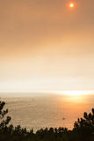 Sundown during summer forest fires in Portugal Royalty Free Stock Photos