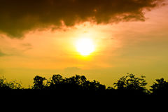 Sundown. Sunset sky colorful and orange light from sun before end day royalty free stock photos