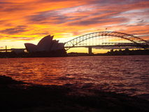 Sundown Sydney Opera house. Harbour bridge australia Australien Stock Image