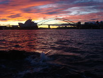 Sundown Sydney Opera house. Harbour bridge australia Australien Royalty Free Stock Photography